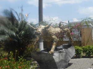 The bull that signifies The Stock Exchange at the Jamaica Stock Exchange