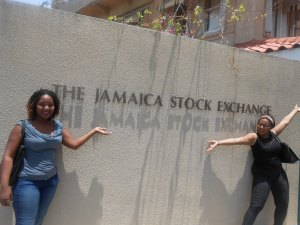 My Classmates in front of the Jamaica Stock Exchange Sign